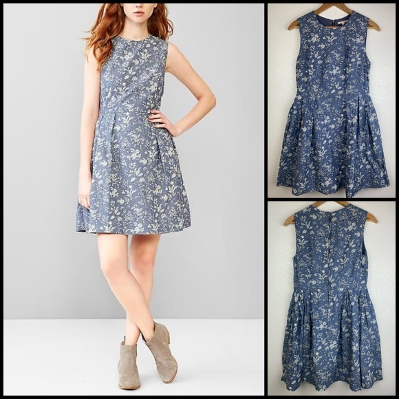 GAP Floral Chambray Fit Flare Dress
